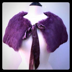 Bebe Purple Rabbit Fur Wrap